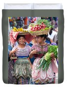 Fruit Sellers In Antigua Guatemala Duvet Cover by David Smith