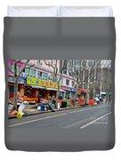 Fruit Shop And Street Scene Shanghai China Duvet Cover