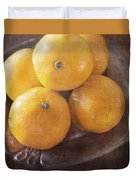 Fruit Still Life Oranges And Antique Silver Duvet Cover