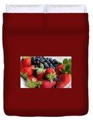 Fruit - Strawberries - Blueberries Duvet Cover