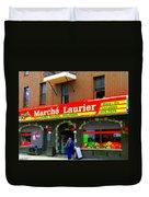 Fruiterie Marche Laurier Butcher Boulangerie De Pain Produits Quebec Market Scenes Carole Spandau  Duvet Cover