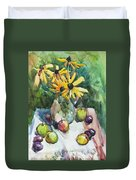 Fruits And Camomiles Duvet Cover