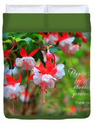Fuchsia Blooms With Scripture Duvet Cover