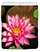 Fuchsia Pink Water Lilly Flower Floating In Pond Duvet Cover