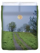 Full Moon And A Country Road Duvet Cover