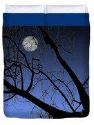 Full Moon And Black Winter Tree Duvet Cover