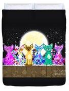 Full Moon Felines Duvet Cover