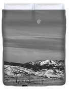 Full Moon On The Co Front Range Bw Duvet Cover