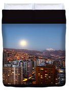 Full Moon Rising Over La Paz Duvet Cover