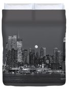 Full Moon Rising Over New York City IIi Duvet Cover by Clarence Holmes