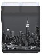 Full Moon Rising Over New York City Iv Duvet Cover