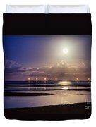 Full Moon Rising Over Sandgate Pier Duvet Cover
