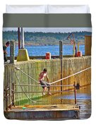 Fun At The Ferry Dock On Brier Island In Digby Neck-ns Duvet Cover
