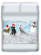 Fun Merry Christmas Card Duvet Cover
