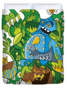 Funky Animals Nature Doodle Duvet Cover