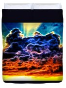 Funky Glowing Electrified Rainbow Clouds Abstract Duvet Cover
