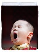 Funny Chinese Child Yawning Duvet Cover