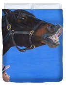 Funny Face - Horse And Child Duvet Cover