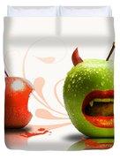 Funny Satirical Digital Image Of Red And Green Apples Strange Fruit Duvet Cover by Sassan Filsoof