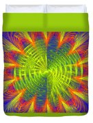 Futuristic Disc Blue Red And Yellow Fractal Flame Duvet Cover