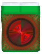 Futuristic Green And Red Tech Disc Fractal Flame Duvet Cover