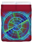 Futuristic Tech Disc Red And Blue Fractal Flame Duvet Cover