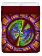 Futuristic Tech Disc Red Green And Yellow Fractal Flame Duvet Cover