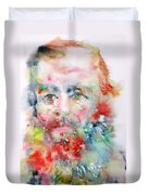 Fyodor Dostoyevsky - Watercolor Portrait.4 Duvet Cover