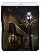 G Street Antique Store In The Snow Duvet Cover