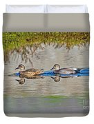 Gadwall Pair Swimming Together Duvet Cover