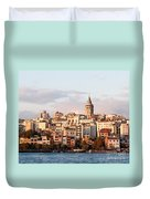 Galata Skyline 01 Duvet Cover by Rick Piper Photography