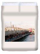 Galata Skyline And Bridge 02 Duvet Cover