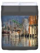 Galveston Shrimp Boats Duvet Cover