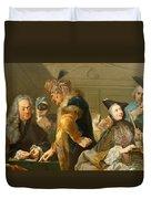 Gamblers In The Foyer Duvet Cover by Johann Heinrich Tischbein