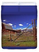 Gambrel Barn And Tetons Duvet Cover