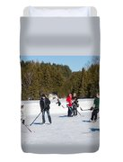 Game Of Ice Hockey On A Frozen Pond  Duvet Cover