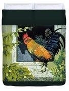 Gamecock And Hen Duvet Cover by Carol Walklin