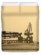 Gantry Crane In Port Duvet Cover