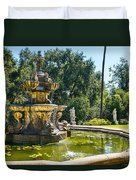 Garden Fountain - Iconic Fountain At The Huntington Library And Botanical Ga Duvet Cover