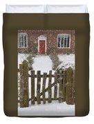 Garden Gate In Snow Duvet Cover