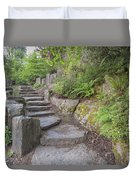 Garden Stair Steps With Natural Rocks Duvet Cover