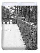 Garden Wall The Mount In Winter Duvet Cover