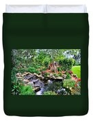 Garden Waterfall And Pond Duvet Cover
