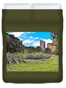 Garden With Bamboo Garden Fence In Battery Park In New York City-ny Duvet Cover by Ruth Hager