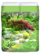 Garden With Japanese Maple Duvet Cover