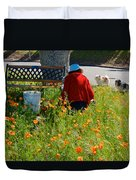 Gardening Distractions In Park Sierra-california Duvet Cover