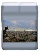 Gargoyle And The Eiffel Tower Duvet Cover