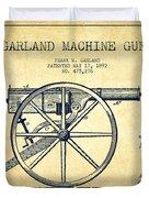 Garland Machine Gun Patent Drawing From 1892 - Vintage Duvet Cover