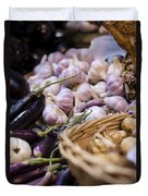 Garlic At The Market Duvet Cover by Heather Applegate