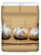 Garlic On Old Barrel Board Duvet Cover